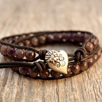 Amethyst bead bracelet. Heart button. Beaded leather wrap bracelet