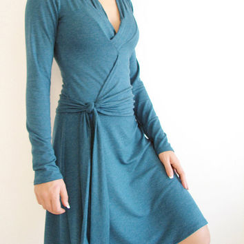 Womens A line Wrap Dress made of Teal Jersey  Knee by LuciaVerona