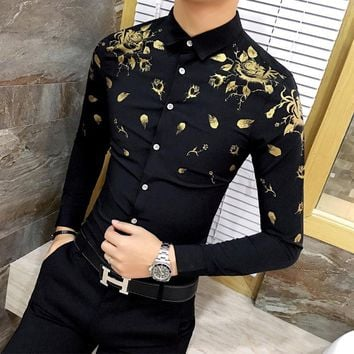 Men Dress Shirt with Gold Print Black White Long Sleeve Fashion Designer Shirt Fancy Shirts Men Floral Shirt Wedding Dress