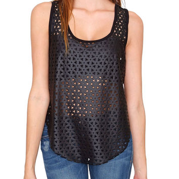 Rule Breakers Sleeveless Top - Black Leather