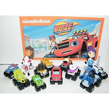 Nickelodeon Blaze and the Monster Machines Party Favors Goody Bag Fillers Set of 13 Figures with Blaze, Zeg the Dinosaur Truck,