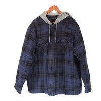 Hooded Flannel Men 2XL Flannel Jacket Hooded Flannel Insulated Flannel Men Spring Jacket 90s Grunge Jacket Grunge Flannel Blue Flannel Fall