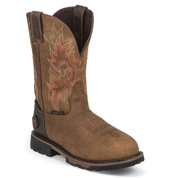 Justin Men's WK4941 Rustic Hybred Waterproof Pull On Composite Safety Toe Boots - Barnwood