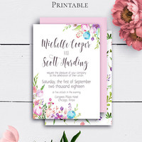 Personalized Floral Wedding Invitation, Printable Watercolour Wedding Invite, Instant Download, Watercolor Flowers, Vintage Floral
