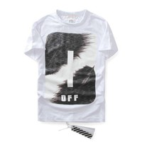 spbest Off-White Feather Ink T-Shirt