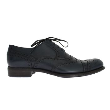 Dolce & Gabbana Blue Navy Leather Wingtip Shoes
