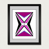 Abstract art print. Geometric print from original artwork with purple, pink, and lavender.