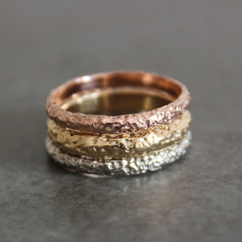 Rustic Gold Wedding Band - 3mm 14k White Gold, Rose Gold, or Yellow Gold - Textured Wedding Ring