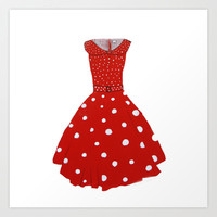 Polka Dotted Red Dress  Art Print by Robin Maria Pedrero