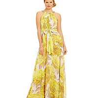 Eliza J Printed Chiffon Maxi Dress | Dillards.com