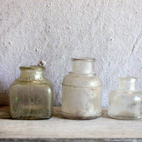 3 Antique Ink Bottles : marked dug glass
