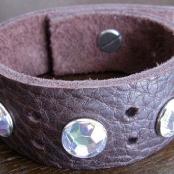 Leather Bracelet. Brown Leather Cuff | With Large White Crystals
