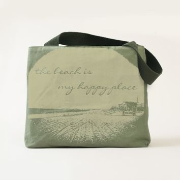 """Happy place"" beach photo olive green canvas tote"