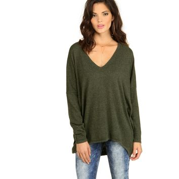 Green Young Vee Sweater
