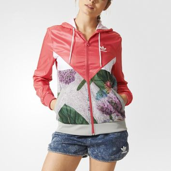 adidas Originals Farm Big Floral Print Hooded Windbreaker Jacket