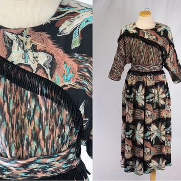 Vintage 80s Novelty Indian Print Frindge Top and Palazzo Pants Set L