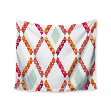 "Pellerina Design ""Aztec Diamonds"" Orange Geometric Wall Tapestry"