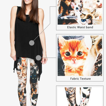 3D Seam Print Polyester Women Cat Leggings