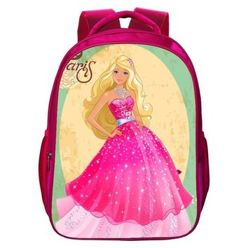 School Backpack Pacento New Cartoon Beautiful Princess Mermaid Primary School Pupil's School Bags Cute Children Backpack for Girls Pink Shoulder AT_48_3