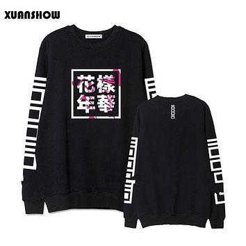XUANSHOW Spring Autumn Hoodies Women Bangtan Boys Album Fans Clothing Letter Printed O Neck Sweatshirt