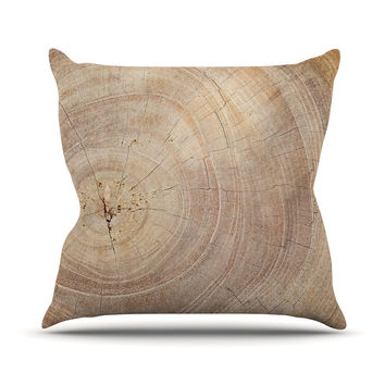 "Susan Sanders ""Aging Tree"" Wooden Throw Pillow"