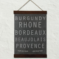 FRENCH WINE REGION NO.1 TYPOGRAPHY ART CANVAS WALL HANGING