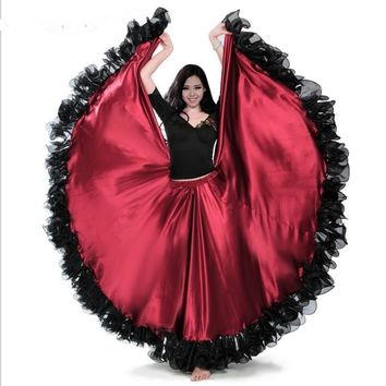 Red color Flamenco Dance Skirt gold Coin spanish Dancing performance Costume women vestido flamenco 180-720 Degree PLUS SIZE