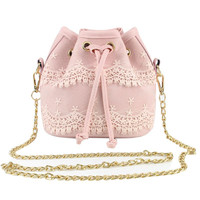 Small Bucket Bag Women MessengBagLadieHandbag Evening Party Purse PU LeathShouldBag CrosBody Bag Famou
