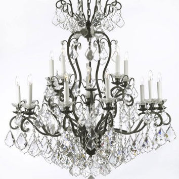 "WROUGHT IRON CRYSTAL CHANDELIER CHANDELIERS LIGHTING W38"" H44"" - A83-556/16"