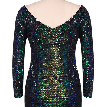 Autumn Winter Sequined Dress Women 2017 Special Occasion Bodycon Dress Party Dresses Long Sleeve Mini Dress Green Vestidos