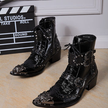 Plus Size Leather Men Ankle Boots High Heel CM Men Cowboy Shoes Metal Tip Studded Buckle Riding Shoes Size 38-46 us12