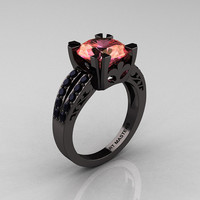 Modern Vintage 14K Black Gold 3.0 Carat Peach Imperial Topaz Black Diamond Solitaire Ring R102-14KBGBDPIT