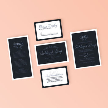 Modern Antler Wedding Invitation, RSVP and Details Card - Printable Wedding Invitation Set - DIY Digital Ready to Print