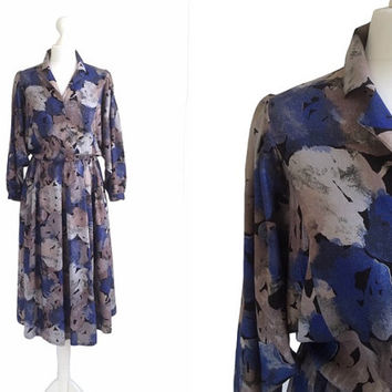 Vintage Shirt Dress - 1990's Dress - 90's Floral Midi Dress - Deep Blue Watercolour Dress