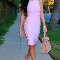 High Neck Side Cutout Bandage Dress