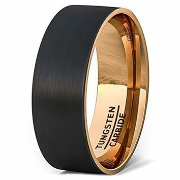 Black Tungsten Wedding Band For Men With Rose Gold Side and Inside Brushed Flat Edge Comfort Fit - 8mm