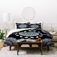 Monika Strigel BOHO ELEPHANT DANCE IN BLACK Duvet Cover