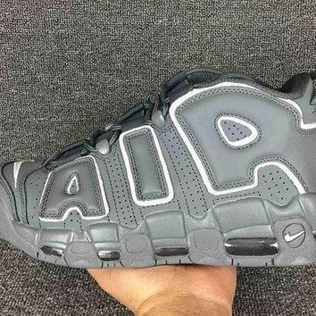 PEAPVX Jacklish Nike Air More Uptempo Grey White Cheap For Sale