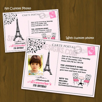 Paris Themed Birthday invitation - French Birthday Printable Invitation - Pink and Black Eiffel Tower Birthday invitation