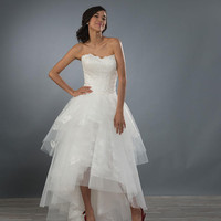 Alfred Angelo 2484 Strapless Lace Tulle High Low Wedding Dress