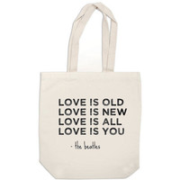 canvas tote bag Love Is Old Love Is New the by ExLibrisJournals