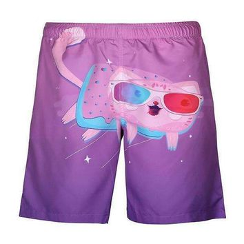 3D Candy Kitty Rave/Board Shorts