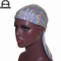 Men's Sparkly Colorful Durags Turban Bandanas Headwear Silky Inside Men Durag Wave Caps Hair Accessories Doo Rag Pirate Hat