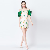 Pineapple Printed Off Shoulder Ruffle Sleeve Mini Dress