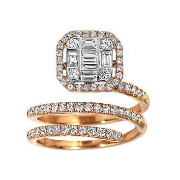 0.91tcw Round   Baguette Diamonds in 18K Rose Gold Wrap Ring db8baa857ce1
