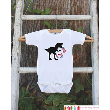 Kid 4th of July Shirt - Rawr White Blue Dinosaur Onepiece or Tshirt - Dino 4th of July Shirt Baby Girl or Boy, Youth, Toddler - Independence