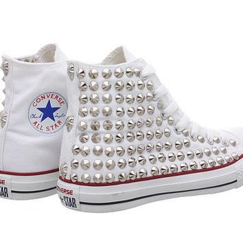 Studded Converse, White Converse with Silver Cone Studs (Oneside Studded) by CUSTOMDUO