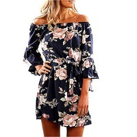 Women Off Shoulder Casual Short Dress