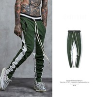 2017 Hip Hop Streetwear Brand Men's Casual Pants Autumn Men Retro Hit Color Bare Zipper Cotton Pants Joggers Trousers Men
