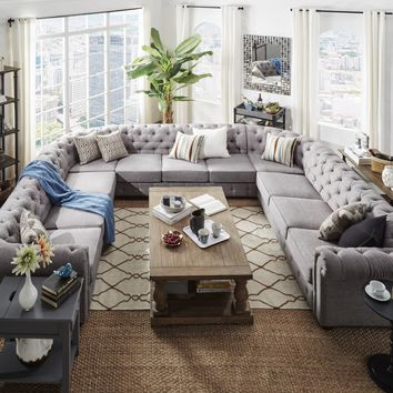 Knightsbridge Tufted Scroll Arm Chesterfield 11-seat U-shaped Sectional